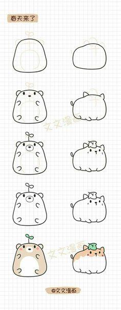 Art dibujos paso a paso Ideas Art drawings step by step Ideas Easy Doodles Drawings, Easy Doodle Art, Cute Easy Drawings, Cute Kawaii Drawings, Simple Doodles, Cute Animal Drawings, Cool Art Drawings, Pencil Art Drawings, Art Drawings Sketches