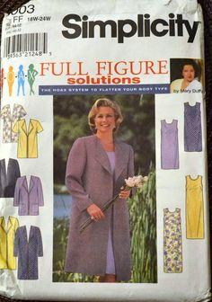 Sewing Pattern Simplicity 8003 Women's Coat and Dress Size - Full Figure Solutions Uncut Com Tunic Sewing Patterns, Simplicity Sewing Patterns, Fabric Patterns, Clothing Patterns, Dress Patterns, Diahann Carroll, Plus Size Patterns, Full Figured, Jacket Dress
