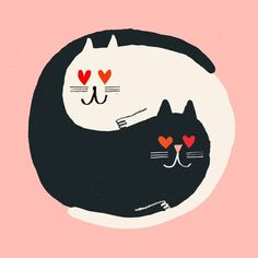 Cats in love Illustration Rob Hodgson, Yin Yang Cats Illustration Mignonne, Art And Illustration, Illustrations, Crazy Cat Lady, Crazy Cats, I Love Cats, Cool Cats, Here Kitty Kitty, Kitty Cats