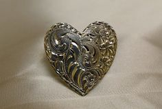 Western Bright Cut engraved Sterling Heart Ring by DouglasSilver, $175.00