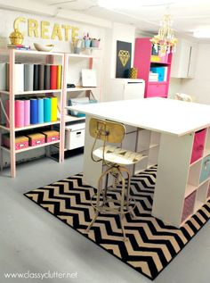 Unfinished basement turned craft studio | www.classyclutter.net ~ This basement looks like ours too!