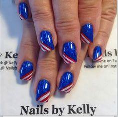 Fingernail Designs, Nail Polish Designs, Nail Art Designs, Nails Design, Holiday Nail Designs, Holiday Nail Art, Tiffany Nails, 4th Of July Nails, July 4th