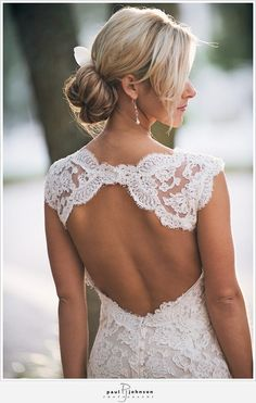 Backless Wedding Dress Gown - A lace over- the-shoulder wedding dress that bares your back looks beautiful.