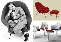 Eero Saarinen, a furniture designer, with the chair he designed called the Tulip chair. The chair has a molded plastic shell with an aluminum base. Saarinen wanted to make it completely from plastic but he wasn't sure the pedestal would hold up, so he painted the aluminum to make it look like plastic.