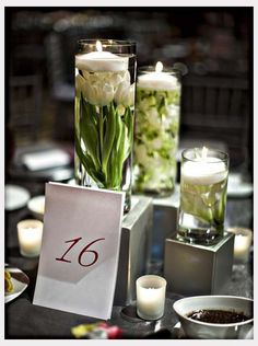 Wedding centerpiece -- candle & flowers