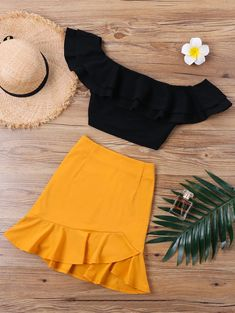 Lollie Two Piece Mustard Skirt And Crop Top Set