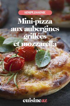 Une idée de mini-pizza estivale aux aubergines grillées et mozzarella. #recette#cuisine#pizza #aubergine#mozzarella Aubergine Pizza, Aubergine Mozzarella, Calzone, Mini Pizza, Baked Potato, French Toast, Potatoes, Baking, Breakfast