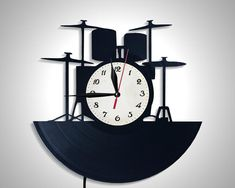 Drums Wall Clock Gift For Friend Music Lover Modern Lamp 1 - Wall Lamps & Sconces - iD Lights Vintage Industrial Lighting, Industrial Light Fixtures, Outdoor Light Fixtures, Kitchen Lighting Design, Kitchen Lighting Fixtures, Leaking Faucet, Outdoor Deck Lighting, Wall Clock Gift, Stylish Interior