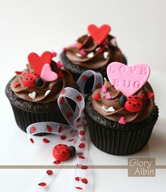 Chocolate Love Bug Cupcakes for Valentines Day or romance with ladybugs / ladybirds and hearts Beautiful Cake Pictures, Beautiful Cakes, Amazing Cakes, Valentine Day Cupcakes, Valentines Day Treats, Kids Valentines, Fairy Cakes, Love Cupcakes, Yummy Cupcakes