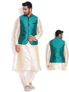 Alluring cream color dupion silk kurta paired with white color churidar pajama. Item code: SKBL2001 http://www.bharatplaza.com/new-arrivals/kurta-pyjamas.html