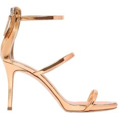 Giuseppe Zanotti Design Women 90mm Harmony Metallic Leather Sandals ($705) ❤ liked on Polyvore featuring shoes, sandals, rose gold, stiletto heel sandals, high heel stilettos, metallic leather sandals, platform shoes and stiletto sandals