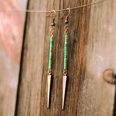 Cute and bohemian turquoise drop earrings. These are gorgeous.