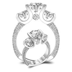 Past Present Future Tension SET Diamond Engagement Ring.... Someting like this... YES!!