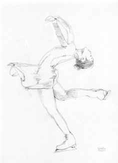 Beautiful skater sketch-I think this is Yuna. Kim but I'm not sure