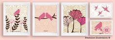 Children or Nursery Art Prints - Set of Five Coordinating Bird Prints - Brown, Tan and Pink. $74.95, via Etsy.