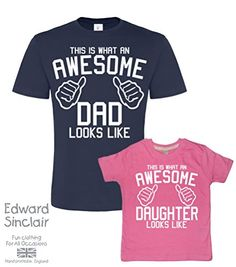 Father's Day Navy & Bubblegum t-shirt set For Father and Daughter 'AWESOME DAD and AWESOME DAUGHTER' (PLEASE INPUT THE SIZES IN THE GIFT MESSAGE BOX). AN EDWARD SINCLAIR T-SHIRT SET. Edward Sinclair http://www.amazon.co.uk/dp/B00XW1HZ0M/ref=cm_sw_r_pi_dp_YpdBvb0GX2B9P