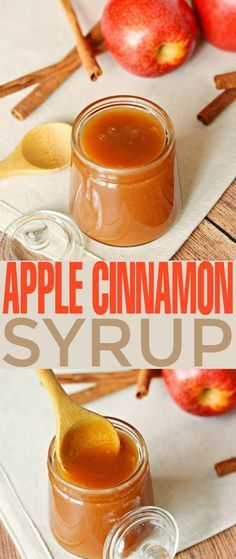This Apple Cinnamon Syrup recipe is fabulous poured over pancakes, waffles, cheesecakes and ice cream. It's a sweet autumn treat that is super versatile as a syrup and sauce. Homemade Syrup, Homemade Sauce, Cinnamon Syrup, Cinnamon Apples, Cinnamon Ice Cream, Cinnamon Rolls, Apple Recipes, Fall Recipes, Dessert Sauces