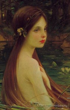 worldpaintings: William Samuel Henry Llewellyn Waterbaby, c. oil on canvas. Sir William Llewellyn was a notable English painter of the late and early centuries. He served as President of the Royal Academy of Arts from 1928 to Moritz Von Schwind, Art Magique, Water Nymphs, Poses References, Mermaid Art, Vintage Mermaid, Art Plastique, Beautiful Paintings, Art Inspo
