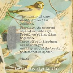 Rumi quote. The human-divine combination is a oneness. Hello Lovely Studio collage. #unity #hellolovelystudio #rumi #poetry #quote