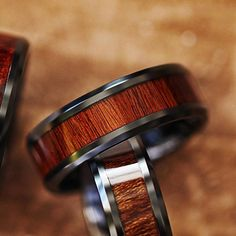 Lifetime Size Exchanges 6mm 10mm Available Custom Personalized Engraved Beveled Edge Padauk Wood Inlay Tungsten Carbide Ring