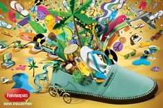 Havaianas Soul Collection - Pedro Zuccolini / Head of Art Shoe Advertising, Shoe Poster, Creative Industries, Creative Director, Illustration, Pictures, Collection, Art Direction, Creativity
