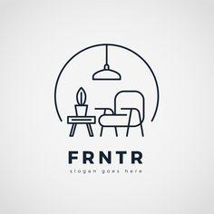 Fondo de logo de muebles minimalistas ve. Type Logo, 1 Logo, Badge Logo, Wooden Logo, Inspiration Logo Design, Logo Minimalista, Graphisches Design, S Logo Design, Interior Logo