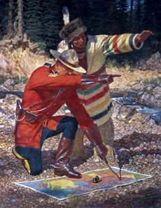 Arnold Friberg, Canadian Mountie and Indian guide with HBCo coat. Canadian History, American History, Ottawa, Hudson Bay Blanket, Police, Fur Trade, O Canada, Le Far West, Mountain Man