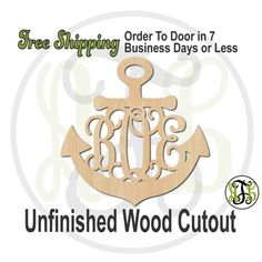 Anchor 1 Monogram- No.50009M3- Personalized Cutout, 3-Letter Monogram , unfinished, unpainted, wood craft, laser cut, wooden blank, DIY