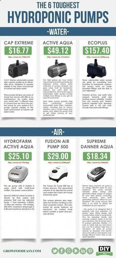 has identified and tested the 6 Toughest Hydroponic pumps available. This little handy infographic gives you the pump model, price, and purchase point. Know how big your hydroponic gardening air and water pumps must be for your hydroponic system. Hydroponic Farming, Hydroponic Growing, Hydroponics System, Diy Hydroponics, Aquaponics Garden, Indoor Aquaponics, Growing Plants, Grow Lights, Compost