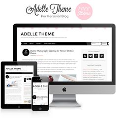 Adelle Theme FREE Chic Feminine WordPress Theme, with minimalist two-columns layout and pink confetti header design. Perfect theme for female bloggers!