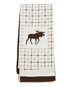 Another great find on #zulily! White Moose Embroidered Dish Towel - Set of Three #zulilyfinds