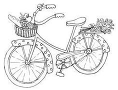 polka dot bike with flowers and picnic basket Applique Patterns, Embroidery Applique, Cross Stitch Embroidery, Machine Embroidery, Embroidery Designs, Colouring Pages, Coloring Books, Copics, Digital Stamps
