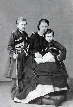 "romanovsonelastdance: ""Maria Alexandrovna with her brothers Sergei and Pavel. """