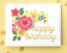 MFT Bold Blooms Happy Birthday die, twisted citron distress ink, berry sorbet, pure poppy, honey nut, new leaf and daffodil delight ink