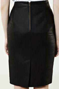 AW12 Preview | Black FRINGE PANEL LEATHER SKIRT | Warehouse Seafolly, Warehouse, Work Wear, Leather Skirt, High Waisted Skirt, Chic, My Style, Skirts, Tube