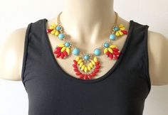 Blue, Yellow, & Coral Necklace – Brittney's Closet