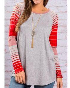 Striped color block t shirt for women gray raglan sleeve t shirts