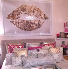 home accessory pillow gold white pink hot pink silver gold pillow painting poster lip lips bedroom