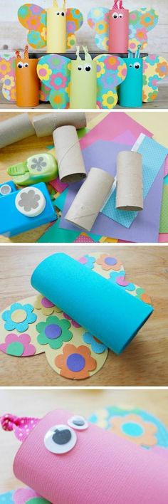 diy projects for kids, five butterflies made from toilet rolls in different colors, with multicolored wings, close up of the items used, the work in progress, and the final result
