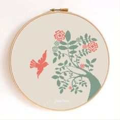 Dove and Tree Bird Silhouette Counted Cross Stitch Pattern Instant Download Abstract by SimpleSmart on Etsy https://www.etsy.com/listing/194323410/dove-and-tree-bird-silhouette-counted