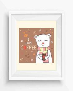 I Love Coffee,Cute Polar Bear,I love Coffee Decor,Digital Prints,Wall Printable,Home Decor,Inspirational Quote,Instant Download,JPEG