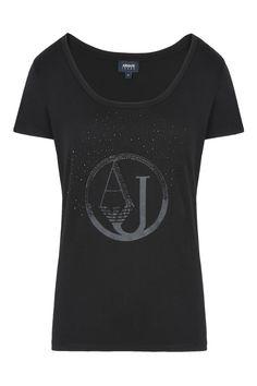 T-SHIRT AUS BAUMWOLLE/MODAL MIT LOGO UND STRASS: Kurzärmlige T-Shirts Für Sie by Armani - 0