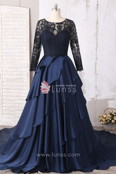 This spectacular long prom dress will dress you in elegant style for your formal event. Illusion neckline on the fitted bodice cascades gracefully over the waistline. Layers of satin flow from the natural waist on the skirt to billow at the floor. Indian Wedding Gowns, Indian Gowns Dresses, Indian Fashion Dresses, Prom Dresses, Lace Gowns, Evening Gowns With Sleeves, Lace Evening Gowns, Satin Gown, Dress Prom