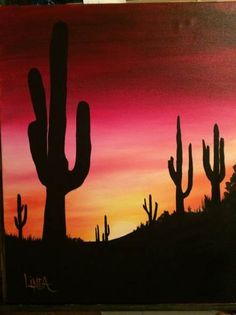 Desert Sunset colors yellow little bit of orange various pinks and then into reds inspiration for dot art rocks Desert Painting, Desert Sunset, Silhouette Painting, Desert Sunset Painting, Watercolor Sunset, Painting Art Projects, Sunset Painting, Watercolor Paintings Easy, Cute Canvas Paintings