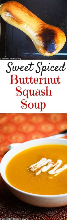 Spiced Butternut Squash Soup - this quick and easy soup recipe is healthy, delicious and happens to be vegan. Only 5 Ingredients. Perfect for Fall and Thanksgiving menus. ~ http://jeanetteshealthyliving.com