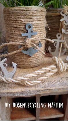Burlap Projects, Burlap Crafts, Craft Projects, Tin Can Crafts, Diy And Crafts, Arts And Crafts, Summer Deco, Romantic Home Decor, Seashell Crafts