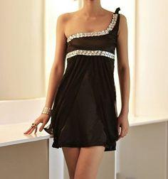 One Shoulder Sleeveless Diamonds Embellished Black Satin Dress