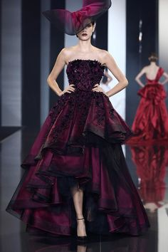 Ralph & Russo | Fall 2014 Couture | 26 Red ruffled strapless maxi dress with asymmetrical hem