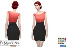 Cap Sleeve Pencil Dress with Black Skirt at NyGirl Sims • Sims 4 Updates