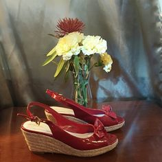 Red wedges. Have only been worn once! Red wedges with bow detail. Are in great condition!:) Merona Shoes Wedges